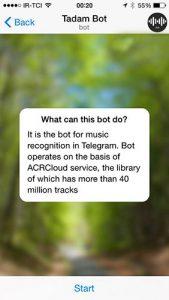 tadam1 169x300 یافتن نام موزیک و خواننده در هنگام پخش موزیک با استفاده از تلگرام