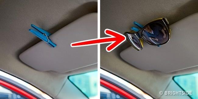 جای عینک با گیره لباس چند ترفند کاربردی نگهداری از ماشین، از زبان رانندههای حرفهای