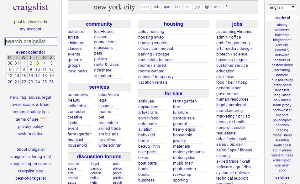 Craigslist.org  معرفی راه های درامدزایی دیجیتال و دورکاری